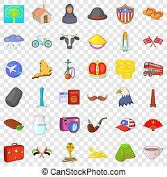 estilo, ícones, jogo, viagem, mundo, caricatura