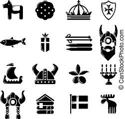 estilo, ícones, jogo, viagem, simples, suécia