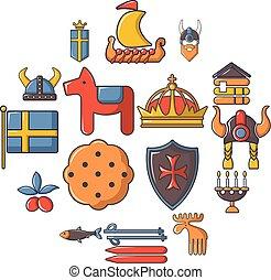 estilo, ícones, jogo, viagem, suécia, caricatura