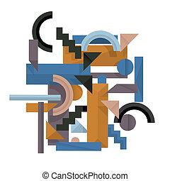 estilo, 3d, geomã©´ricas, fundo, cubismo