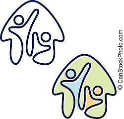 estilo, abstratos, vetorial, lar, pessoas, dois, símbolo, apartamento, ícone