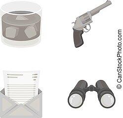 estilo, acción, iconos, detective, símbolo, whisky, web., ilustración, monocrome, conjunto, envelope., binoculares, vector, colección, carta, vidrio, arma de fuego