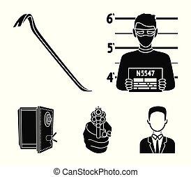 estilo, acción, pedacito, iconos, símbolo, direccional, negro, web., crimen, ilustración, conjunto, criminal, vector, colección, abierto, gun., seguro, foto