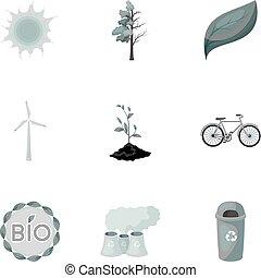 estilo, acción, símbolo, problemas, illustration., conjunto, icono, combate, ecología, vector, bio, monocromo, maneras, tierra, colección, ravages., ecología