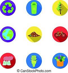 estilo, acción, símbolo, problemas, illustration., conjunto, icono, combate, ecología, vector, tierra, bio, maneras, plano, colección, ravages., ecología