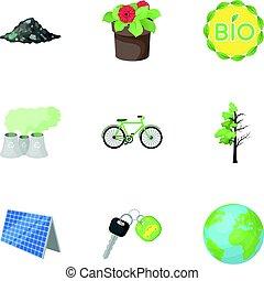estilo, acción, símbolo, problemas, illustration., conjunto, icono, combate, ecología, vector, tierra, bio, maneras, caricatura, colección, ravages., ecología