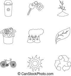 estilo, acción, símbolo, problemas, illustration., contorno, conjunto, icono, combate, ecología, vector, bio, colección, maneras, tierra, ravages., ecología
