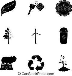 estilo, acción, símbolo, problemas, negro, illustration., conjunto, icono, combate, ecología, vector, bio, colección, maneras, tierra, ravages., ecología