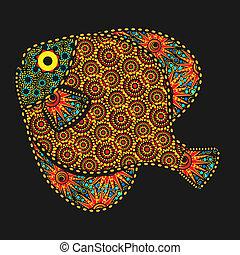 estilo, africano, pez, florido