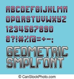 estilo, alfabeto, cor, retro, font., cyan, magenta
