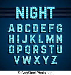 estilo, alfabeto, luces, luz, broadway, bombilla