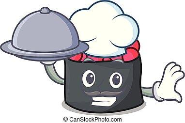 estilo, alimento, cozinheiro, ikura, caricatura, mascote