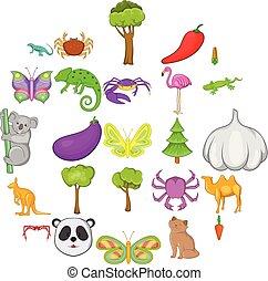 estilo, animais, ícones, jogo, australiano, caricatura