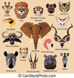 estilo, animales, aislado, conjunto, icons., africano, caras...