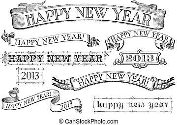estilo, ano novo, bandeiras, feliz, vindima