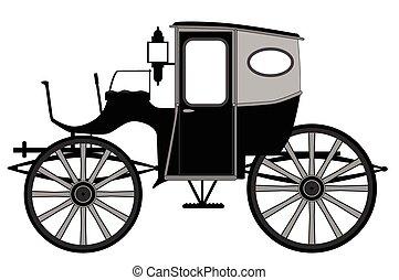 estilo, antigas, carruagem