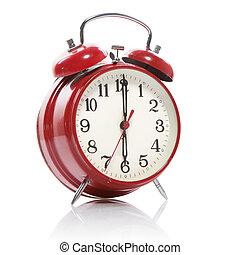 estilo, antigas, relógio, alarme, isolado, branco vermelho