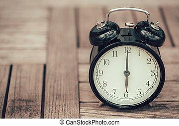 estilo, antigas, relógio, cor, vindima, alarme, madeira, retro, foto, tabela, imagem
