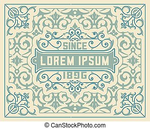 estilo, antigas, wirh, detalhes, floral, barroco, cartão