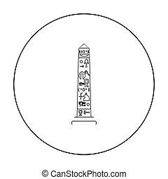 estilo, antiguo, contorno, icono, obelisco, símbolo,...