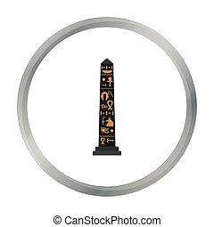 estilo, antiguo, illustration., obelisco, símbolo, aislado,...