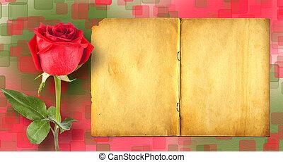 estilo, antiguo, scrapbooking, utilizado, rosas, papel, th,...