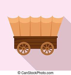 estilo, apartamento, ícone, ocidental, carruagem