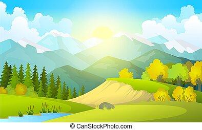 estilo, apartamento, alvorada, céu, campos, bonito, bandeira, luminoso, verão, azul, ilustração, colinas, paisagem, vetorial, país, colora experiência, verde, caricatura