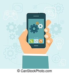 estilo, app, desenvolvimento, vetorial, apartamento, conceito