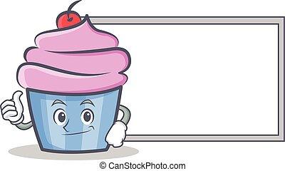 estilo, aprovação, personagem, cupcake, tábua, caricatura