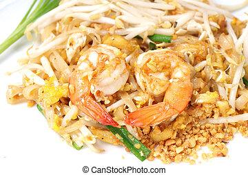 estilo, arroz, alimento,  (pad,  thai), Bata frito, tailandés, tallarines
