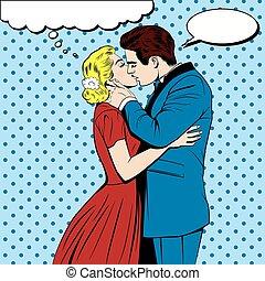 estilo, arte, cômico, par, estouro, beijando