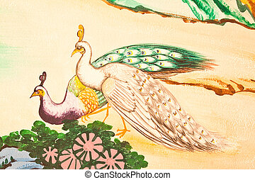 estilo, arte, chinês, templo, parede, quadro, mármore