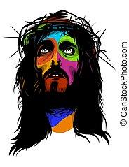 estilo, arte, estouro, rosto, vetorial, jesus