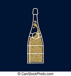 estilo, arte, ouro, garrafa, linha, champanhe, brilhar