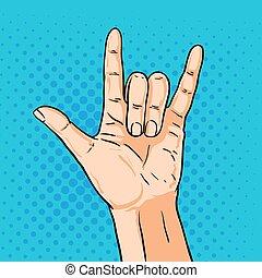 estilo, arte, shoving, gesture., ilustração, mão, vetorial, estouro, rocha, cômico