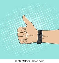 estilo, arte, sinal, cima, estouro, mão, ilustração, cômico, polegares