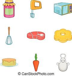 estilo, assando, ícones, jogo, vovó, caricatura