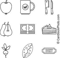 estilo, assando, esboço, ícones, jogo, dietético