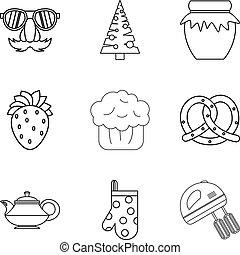 estilo, assando, esboço, ícones, jogo, natal