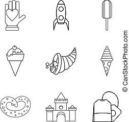 estilo, assando, esboço, ícones, jogo, outono