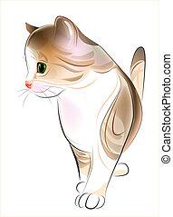 estilo, atigrado, jengibre, mano, acuarela, retrato, dibujado, kitten.