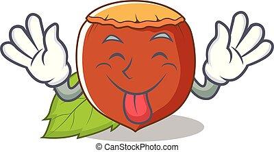 estilo, avelã, língua, caricatura, mascote