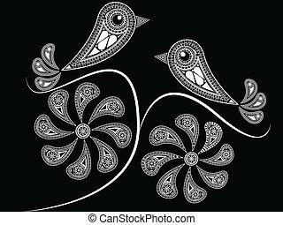 estilo, aves, étnico