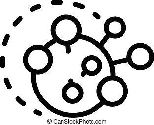 estilo, bacterias, contorno, amigdalitis, icono