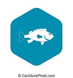 estilo, bajo, simple, pez, mar, icono