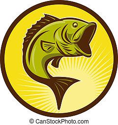estilo, bajo, woodcut, largemouth, pez, saltar, hecho, retro