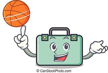 estilo, baloncesto, carácter, caricatura, maleta