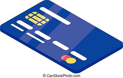 estilo, banco, icono, tarjeta, isométrico