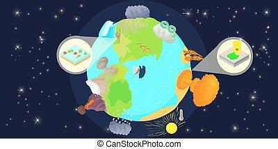 estilo, bandeira, globo, horizontais, caricatura, desastre